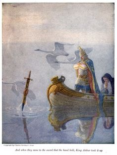 And when they came to the sword that the hand held, King Arthur took it up