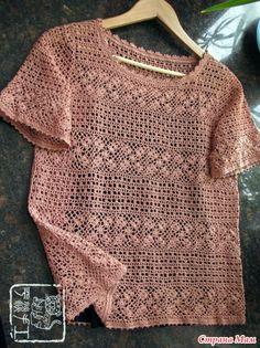 Ажурная блуза со полосками из мотивов. Крючок.