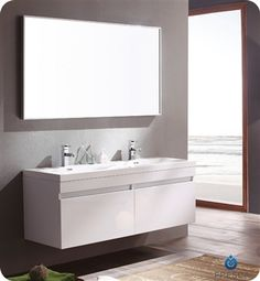 Fresca Largo White Wood Modern Bathroom Vanity w/ Wavy Double Sinks