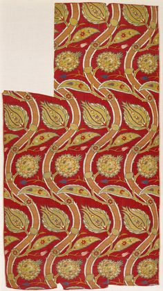 Length of Fabric, ca. 1565–80. Turkish. The Metropolitan Museum of Art, New York. Purchase, Joseph Pulitzer Bequest, 1952 (52.20.21)   Spectacular silks with large patterns were favored materials for luxury garments among the courtly elite of sixteenth-century Istanbul and were often used for the bold, richly colored caftans of the Ottoman sultans. #OneMetManyWorlds