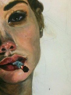 Portrait with cigarette, painting Painting Inspiration, Art Inspo, Art Sketches, Art Drawings, Hipster Drawings, Ouvrages D'art, Painting & Drawing, Mouth Painting, Smoke Drawing