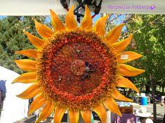 """Sun Blaze Sunflower"" ~ Chrysalis Pottery www.facebook.com/BarbJohnson.pottery Paper Mache Sculpture, Sculptures, Sunflower Garden, Ceramic Flowers, Pottery Ideas, Yard Art, Clay Art, Sunflowers, Fused Glass"