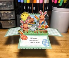 Lawn Fawn Easter pop up card