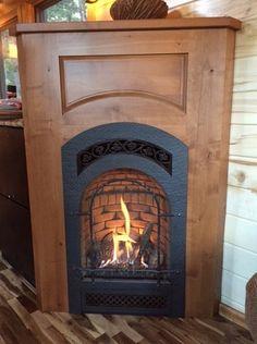 "Tiny Stone Cottage on Wheels by Simblissity ""Kozy Heat Propane Fireplace"" Small Gas Fireplace, Propane Fireplace, Cottage Fireplace, Fireplace Inserts, Electric Fireplace, Corner Fireplaces, Gas Fireplaces, Faux Fireplace, Fireplace Ideas"