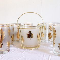 Excited to share this item from my #etsy shop: VINTAGE | 10-piece mid century frosted, gilded foliage cocktail set with ice bucket #demarsvintage