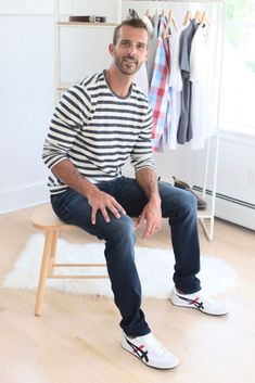 men's casual fall outfit - striped shirt and jeans - men's fall capsule wardrobe 2019 - pinteresting plans fashion blog Capsule Wardrobe Examples, Fall Capsule Wardrobe, Patagonia Sweater Jacket, Casual Fall Outfits, Men Casual, Next Clothes, Mens Fall, Mens Clothing Styles, Shirts