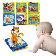 Baby Toys 0-12 Months Intelligence Development Cloth Book Soft Rattles Unfolding Activity Books Cute Animals Kids Toys