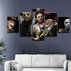 Horror Movie Characters Freddie Jason Michael Myers 5 Panel Canvas Print Wall Art - Small Unframed (Canvas Only) Horror Movie Characters, Horror Movies, Movie Bedroom, Horror Room, Wall Art Prints, Canvas Prints, Horror Decor, Goth Home, Dining Room Walls