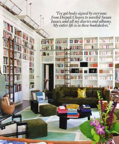 Diane Von Furstenberg's enviable library #interiors #books #library