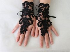 Gothic black lace wedding gloves costume by ByDreamShop on Etsy