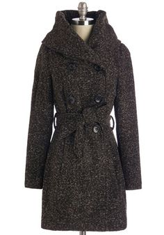 Cookie Pie Coat. You hurry up the path of your best friends house with a fresh, home-baked treat nestled in the crook of your arm. #brown #modcloth