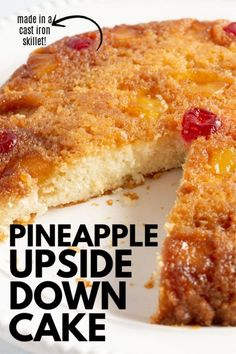 Grandma's recipe for pineapple upside down cake made in a cast iron skillet! The best way to make this delicious cake! Pineapple Upside Down Cake, Pineapple Cake, Just Desserts, Delicious Desserts, Yummy Food, Cake Recipes, Dessert Recipes, Cookies, Let Them Eat Cake