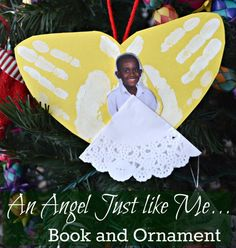 An Angel Just Like Me: Book and Ornament Craft. Such a sweet multicultural book about a boy who wants the angel on his Christmas tree to look like he does. Then kids can personalize their own ornament with minimal supplies:). Holiday Crafts For Kids, Christmas Activities, Craft Activities, Christmas Crafts, Xmas, Christmas Ornaments, Christmas Tree, Christmas Ideas, Felt Ornaments