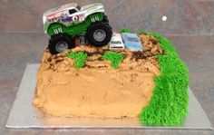 Monster truck cake with whipped cream icing