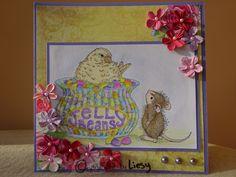 House Mouse Easter egg challenge, Jellybean bird stempel en Petaloo bloemetjes.