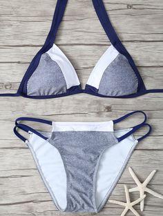 Stringy Plunge Bikini Set - COLORMIX S