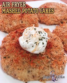 Air Fryer Mashed Potato Cakes | Greg's Kitchen. Y'all are going to fall in love with this recipe. When you have that extra bit of mashed potatoes from dinner last night and don't know what to do with them? Well change them up and your family won't even know they are left overs.