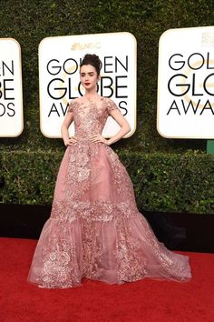 Lily Collins in Zuhair Murad at the Golden Globes 2017