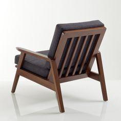 Características del sillón vintage WATFORD Estructura de hevea maciza con acabado en nogal y barniz nitrocelulósico.Asiento y respaldo rellenos de espuma de poliuretano (35 kg/m3), revestidos con un tejido 100% poliéster.Suspensión con correas entrecruzadas.Se entrega montada.Dimensiones del sillón vintage WATFORD: An. 56 x Al. 75 x Prof. 81 cm.Dimensiones del asiento: An. 49 x 40 x 51 cm.