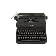 Royal Typewriter - Working - Vintage -1940's - Manual - Portable -... (1 175 PLN) ❤ liked on Polyvore featuring home, home decor, fillers, black fillers, electronics, stuff, black home decor, vintage home decor, arrow home decor and vintage home accessories