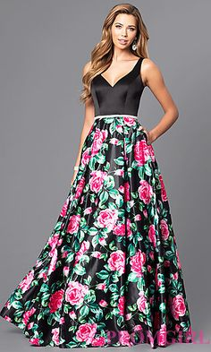 Long V-Neck Prom Dress with Print Skirt at PromGirl.com