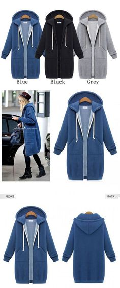 New Hooded Long-sleeved Sweater Coat Long Coat Thicker Coat Pullover for  big sale! 99a9eb536e4