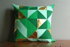 DIY: Green and Gold Geometric Pillow