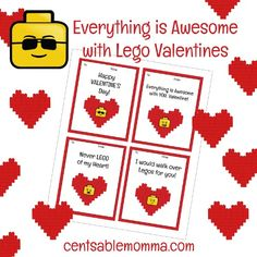 If you're looking for some cute LEGO Valentine's Day cards for your child's class, you can print out these FREE LEGO Valentines printables.