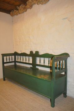Antique Pine Box Settle In Original Paint 1880   244725   Sellingantiques.co.uk. Kitchen Bench SeatingAntique BenchStorage ... & Antique Bench With Storage Vintage storage bench   Dining room ...