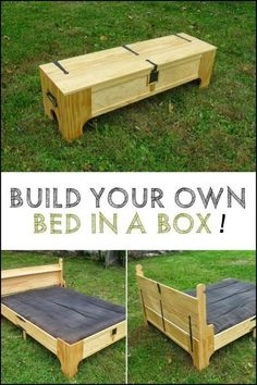 This clever box transforms into a spare bed! Could you use one of these in your … This clever box transforms into a spare bed! Now the challenge is for you to try to do it yourself! Cama Box, Woodworking Furniture Plans, Diy Furniture, Furniture Cleaning, Diy Wood Projects, Home Projects, Viking Bed, Spare Bed, Space Saving Beds