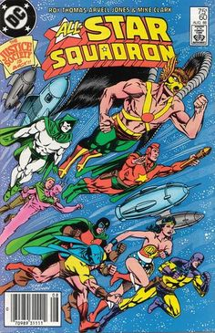 """Cover for All-Star Squadron (DC, 1981 series) """"Well look who's back.from outer space. Star Comics, Dc Comics Art, Superhero Characters, Dc Comics Characters, Dc Comic Books, Comic Book Covers, Marvel Dc, All Star, Justice Society Of America"""