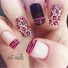 Animal designs for decorated animal print nails Love Nails, Pink Nails, Pretty Nails, My Nails, Pink Leopard Nails, Fabulous Nails, Perfect Nails, Gorgeous Nails, French Nails