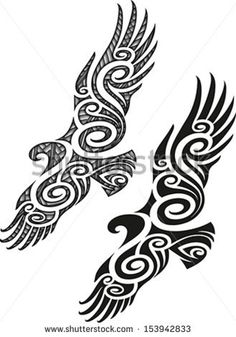 Maori styled tattoo pattern in a shape of eagle. Editable vector illustration.                                                                                                                                                                                 Plus
