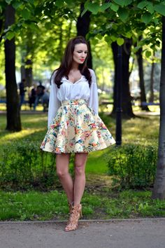 @roressclothes closet ideas #women fashion outfit #clothing style apparel White Shirt with Print Skirt