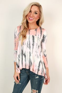 Island Sipping Tie Dye Tee in Peach, $28.00, Impressions Boutique