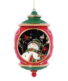 Loving this Red & Green Snowman & Birds Porcelain Ornament on #zulily! #zulilyfinds