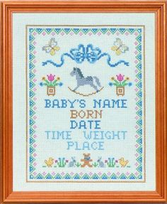 Cross Stitch Birth Samplers | Double click on above image to view full picture