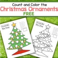 Color and count the ornaments on the Christmas tree. #christmasfreeprintables #preschoolnumbers