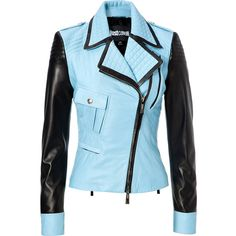 Just Cavalli Leather Two-Tone Biker Jacket ($1,915) ❤ liked on Polyvore featuring outerwear, jackets, coats, tops, coats & jackets, turquoise, blue leather jacket, motorcycle jacket, blue jackets and quilted moto jacket