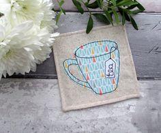 Fabric Coaster, Mug Coaster, Applique Coaster, Fabric Gift, Drinks Coaster, Gift For A Tea Lover