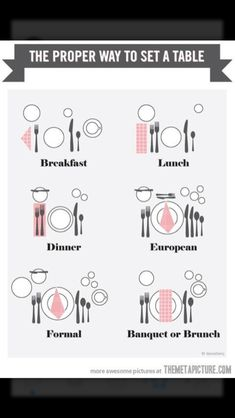 Funny pictures about The proper way to set a table. Oh, and cool pics about The proper way to set a table. Also, The proper way to set a table. Dining Etiquette, Table Setting Etiquette, Etiquette Dinner, Engagement Party Etiquette, Etiquette And Manners, Deco Table, Decoration Table, Dinner Table Decorations, Plan Your Wedding
