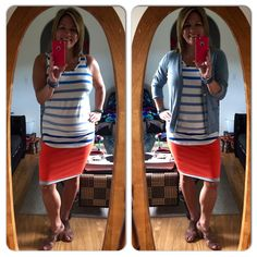 Today's OOTD is Reversible Tube Skirt with Wide Stripe Tank and Billi Cardigan