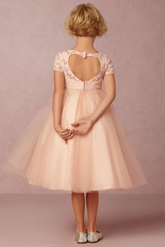 pink lace & tulle flower girl dress, with heart detail | Portia Dress from BHLDN