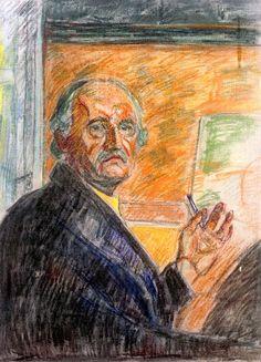 Edvard Munch - Self-Portrait with Pastel Stick, 1943