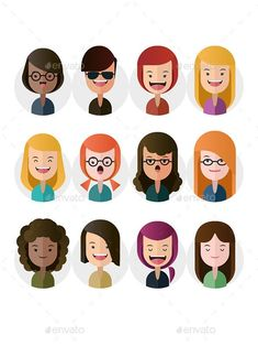Buy Flat Female Avatars by on GraphicRiver. An avatar is a great way to present you/ your team and show off your service. This avatar set is easy to edit and cus. Flat Design Illustration, Character Illustration, Graphic Illustration, Web Design, Vector Design, Icon Design, Vector Art, Nail Design, Graphic Design Inspiration