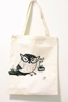 Don't Give 2 Hoots owl tote bag