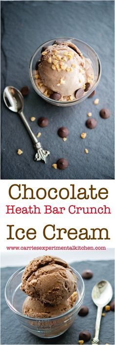 With a few simple ingredients like heavy cream, sugar, bittersweet chocolate & toffee bits, you can make this Chocolate Heath Bar Crunch Ice Cream at home. Cold Desserts, Ice Cream Desserts, Frozen Desserts, Ice Cream Recipes, Just Desserts, Delicious Desserts, Frozen Treats, Delicious Dishes, Holiday Desserts