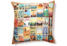 City Grid Pattern 20x20 Pillow, Multi on OneKingsLane.com