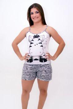 Pijamas Alça com zebrinha