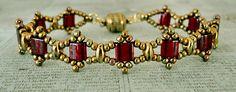 Linda's Crafty Inspirations: Bracelet of the Day: Tallulah Tila - Cranberry